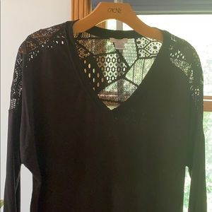 Cache black top with sheer lace back